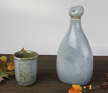 陶器のマイナスイオンボトル・水色