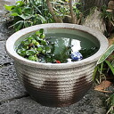 No. 15, ash glaze thousand corrugated water bowls! Shin Raku suiren pots! Ideal for fish bowls, fish bowl! Water lilies pots / pottery water lily pot / Lotus pots / already pot / medaka pots / pots / pottery / water coupled pots / water bowl / water lili
