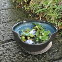 No. 10-blue glaze Hickey three bending water bowls! Shin Raku suiren pots! Ideal for fish bowls, fish bowl! Water lilies pots / pottery water lily pot / Lotus pots / already pot / medaka pots / pots / pottery / water coupled pots / water bowl / water lil