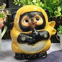 Ceramic raccoon call Doron Ninja raccoon (yellow) Bok lucky charm! Shin Raku Tanuki / Shinshu raku pottery Ninja racoon / ceramic Tanuki Ninja raccoon raccoon / Tanuki / pottery / raccoon figurine [ta-0085]