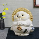 Wind water raccoon (white), health, beauty benefits and! / Luck / Shin Raku Tanuki Tanuki pottery Pom / raccoon figurine / or kimono / pottery / Tanuki / wind sennosuke sanuki