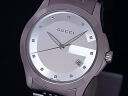 126.4 GUCCI gucci G-thymeless collection men SS silver clockface 12P diamond quartz