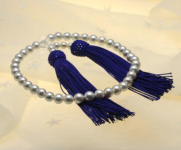 【真珠の本場 伊勢志摩よりお届け】上品グレーが魅力♪7.0〜7.5mmあこや本真珠念珠【n0122】