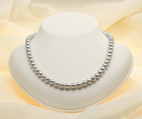 【真珠の本場 伊勢志摩よりお届け】上品なグレーパール♪7.0〜7.5mm あこや本真珠シルバーグレーパールネックレス【nc0117】(正面)