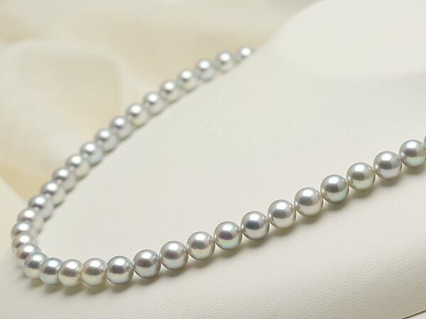 【真珠の本場 伊勢志摩よりお届け】深みのあるグレーが魅力♪7.0〜7.5mm あこや本真珠シルバーグレーネックレス【nc0123】