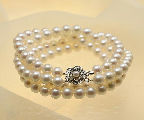 【真珠の本場 伊勢志摩よりお届け】7.5-8.0mmほんのり優しいピンク♪あこや本真珠2連ネックレス【nc0414】
