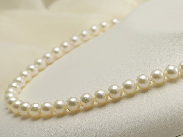 【真珠の本場 伊勢志摩よりお届け】8.0-8.5mm優しいグリーンにほんのりピンク♪あこや本真珠パールネックレス【nc0419】