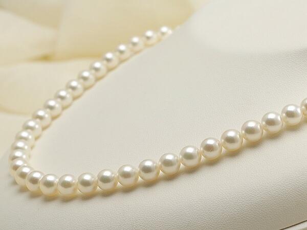 【真珠の本場 伊勢志摩よりお届け】7.5-8.0mmほんのり淡いグリーンピンク♪あこや本真珠ネックレス【nc0489】