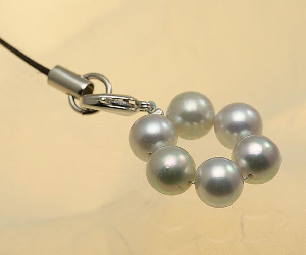 【真珠の本場 伊勢志摩よりお届け】淡いピンクが差す♪あこや本真珠(7.0mm珠 6個使用)  パール携帯ストラップ【st0015】