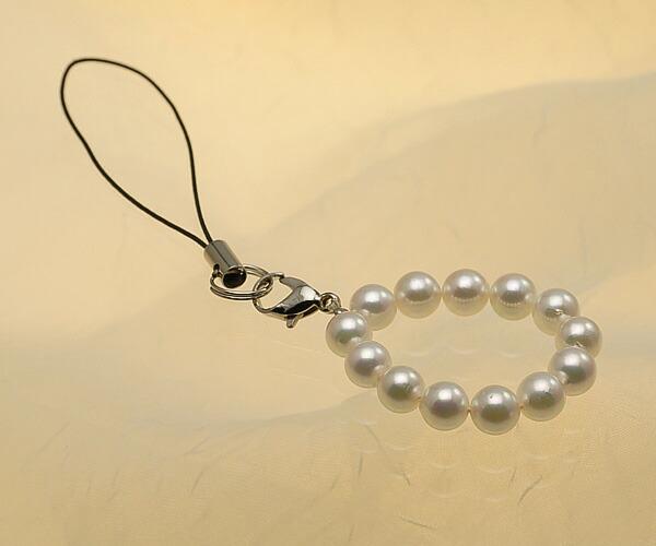 【真珠の本場 伊勢志摩よりお届け】上品ピンク♪あこや本真珠(6.0mm珠 13個使用)  パール携帯ストラップ【st0016】