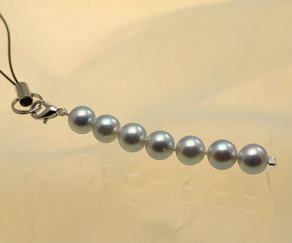 【真珠の本場 伊勢志摩よりお届け】深みのあるシルバーグレー♪あこや本真珠(7.0mm珠 7個使用)  パール携帯ストラップ【st0020】