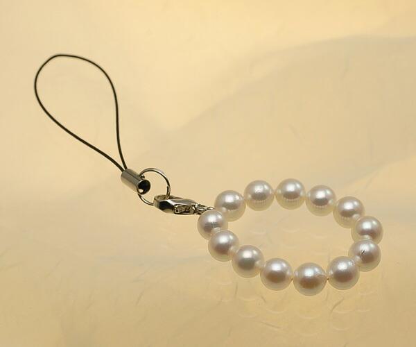 【真珠の本場 伊勢志摩よりお届け】ほんのり淡いピンク♪あこや本真珠(6.5mm珠 13個使用)  パール携帯ストラップ【st0025】