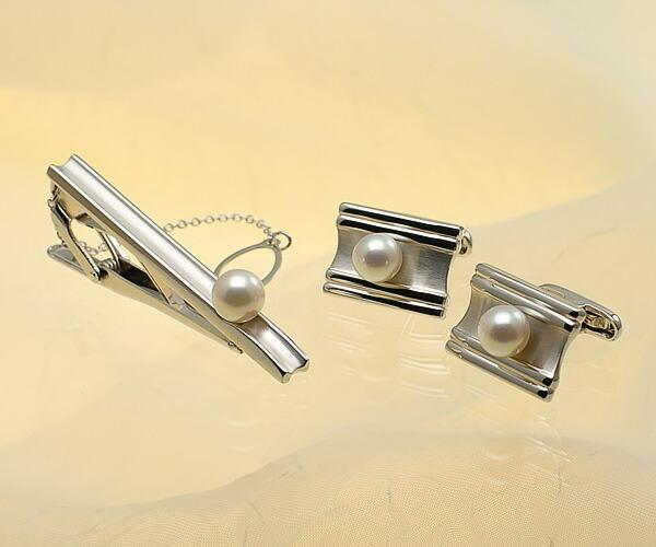 【真珠の本場 伊勢志摩よりお届け】淡い優しいピンク♪7.5mm あこや本真珠 ネクタイピン・カフスセット【tp0030】