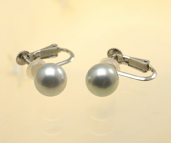 【真珠の本場 伊勢志摩よりお届け】深みのあるシルバーグレーが魅力♪8.0mmあこや本真珠イヤリング(ネジバネ式)【eg0036】