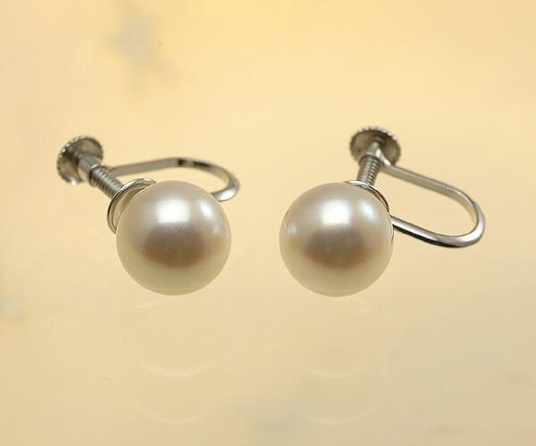 【真珠の本場 伊勢志摩よりお届け】ほんのり優しいピンク♪8.0mmあこや本真珠イヤリング(ネジ式)【eg0073】