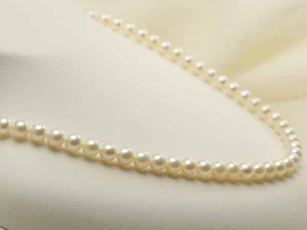 【真珠の本場 伊勢志摩よりお届け】淡い上品グリーン♪<br>5.5〜6.0mm あこや本真珠ネックレス【nc0017】
