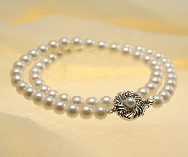 【真珠の本場 伊勢志摩よりお届け】淡いピンクの華やかな色目♪6.5〜7.0mmあこや本真珠ネックレス【nc0052】