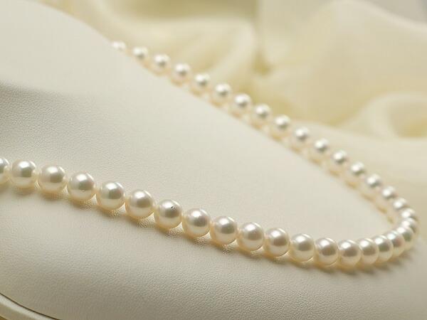 【真珠の本場 伊勢志摩よりお届け】優しい淡いピンクグリーン♪7.0-7.5mm あこや本真珠ネックレス【nc0101】