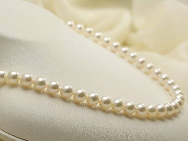 【真珠の本場 伊勢志摩よりお届け】7.5-8.0mmほんのり淡いピンクグリーン♪あこや本真珠ネックレス【nc0156】