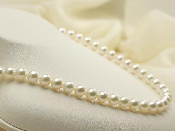 【真珠の本場 伊勢志摩よりお届け】7.5-8.0mmグリーンピンクの美しい色目♪あこや本真珠ネックレス【nc0165】