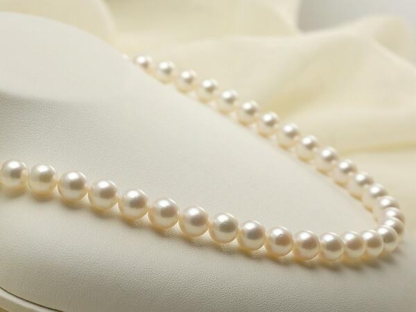 【真珠の本場 伊勢志摩よりお届け】ほのかなピンクグリーン♪8.0-8.5mmあこや本真珠ネックレス【nc0188】
