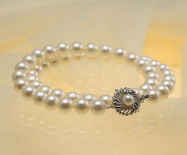 【真珠の本場 伊勢志摩よりお届け】8.0-8.5mmほのかに淡いグリーンピンク♪あこや本真珠パールネックレス【nc0193】