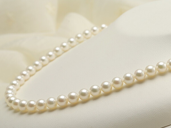 【真珠の本場 伊勢志摩よりお届け】ほんのり淡い上品カラー♪7.0-7.5mmあこや本真珠ネックレス