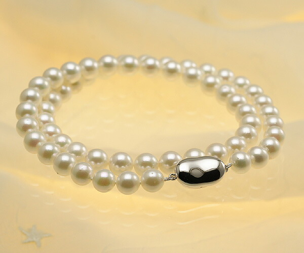 【真珠の本場 伊勢志摩よりお届け】優しい淡いグリーン♪7.0〜7.5mmあこや本真珠ネックレス【nc0407】