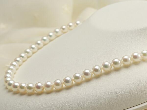 【真珠の本場 伊勢志摩よりお届け】7.5-8.0mm淡いピンクグリーンの干渉色が美しい♪あこや本真珠パールネックレス【nc0452】