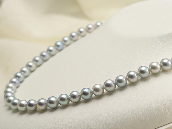 【真珠の本場 伊勢志摩よりお届け】深みのあるシルバーグレーが魅力♪7.5-8.0mmあこや本真珠シルバーグレーネックレス