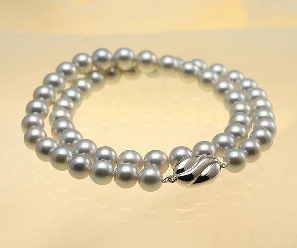 【真珠の本場 伊勢志摩よりお届け】グレーに淡いピンクがさす♪7.5-8.0mmあこや本真珠シルバーグレーネックレス