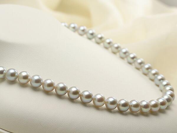 【真珠の本場 伊勢志摩よりお届け】淡いシルバーにほんのりピンク♪8.0-8.5mmあこや本真珠シルバーグレーネックレス