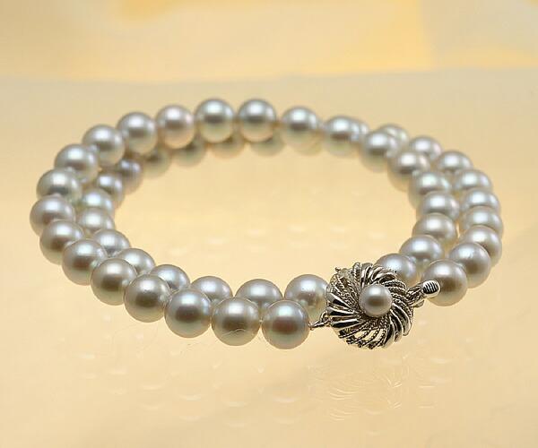 【真珠の本場 伊勢志摩よりお届け】淡いシャンパンゴールド♪8.0-8.5mmあこや本真珠シルバーグレーネックレス