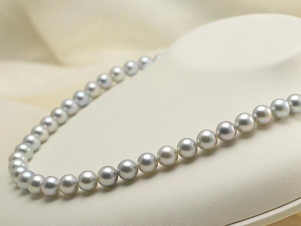 【真珠の本場 伊勢志摩よりお届け】落ち着きのある上品グレー♪8.0-8.5mmあこや本真珠シルバーグレーネックレス