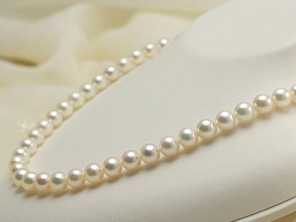 【真珠の本場 伊勢志摩よりお届け】7.5-8.0mmピンクグリーンの華やかな色目♪あこや本真珠ネックレス【nc0490】