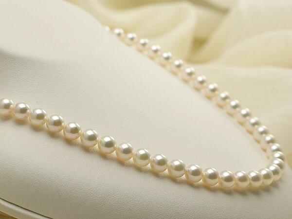 【真珠の本場 伊勢志摩よりお届け】ピンクグリーンの綺麗な色目♪7.0〜7.5mmあこや本真珠ネックレス【nc0494】