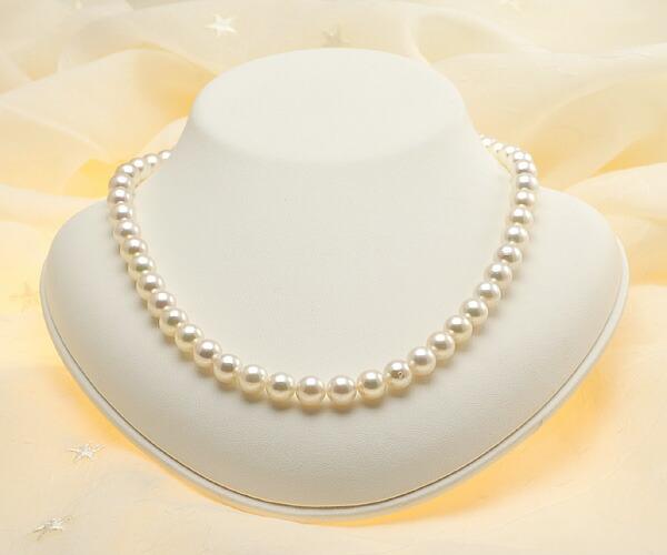 【真珠の本場 伊勢志摩よりお届け】8.0-8.5mmピンクグリーンの華やかな色目♪あこや本真珠パールネックレス【nc0553】