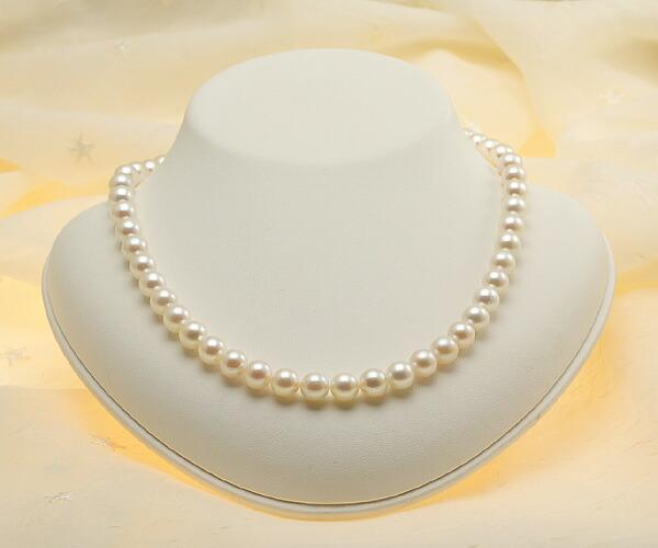 【真珠の本場 伊勢志摩よりお届け】ほんのり淡い優しい色目♪8.0〜8.5mmあこや本真珠ネックレス【nc0577】