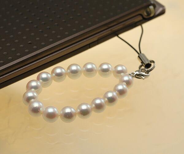 【真珠の本場 伊勢志摩よりお届け】華やかピンクが美しい♪あこや本真珠(6.5mm珠 16個使用)  パール携帯ストラップ【st0023】