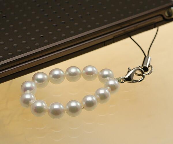 【真珠の本場 伊勢志摩よりお届け】淡いピンクにほのかなグリーン♪あこや本真珠(6.5mm珠 13個使用)  パール携帯ストラップ【st0024】