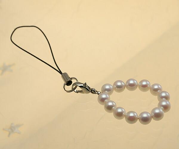 【真珠の本場 伊勢志摩よりお届け】華やかピンク♪あこや本真珠(6.0mm珠 13個使用)  パール携帯ストラップ【st0027】