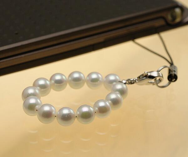 【真珠の本場 伊勢志摩よりお届け】明るいピンクグリーン♪あこや本真珠(6.0mm珠 13個使用)  パール携帯ストラップ【st0028】