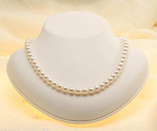 【真珠の本場 伊勢志摩よりお届け】淡い優しいピンク♪7.0〜7.5mmあこや本真珠準花珠パールネックレス(鑑別書付)【39243】