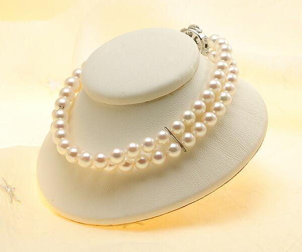 【真珠の本場 伊勢志摩よりお届け】深みのあるピンクが魅力♪5.5-6.0mmあこや本真珠2連パールブレスレット【bl0020】