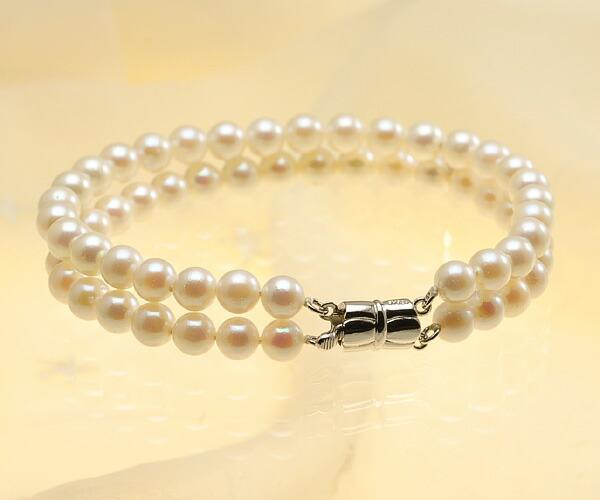 【真珠の本場 伊勢志摩よりお届け】ほんのり淡いピンク♪6.0〜6.5mmあこや本真珠2連パールブレスレット【bl0036】