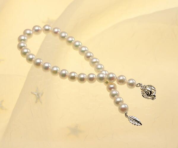 【真珠の本場 伊勢志摩よりお届け】ピンクグリーンの美しい色目♪6.0-6.5mmあこや本真珠パールブレスレット【bl0040】