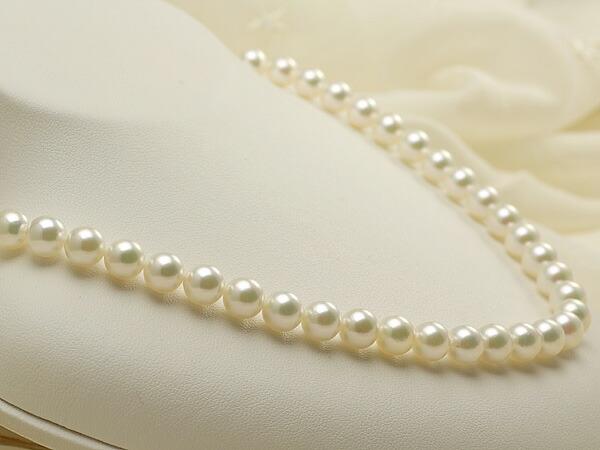 【真珠の本場 伊勢志摩よりお届け】7.5-8.0mm淡いグリーンにほのかなピンク♪あこや本真珠ネックレス【nc0167】