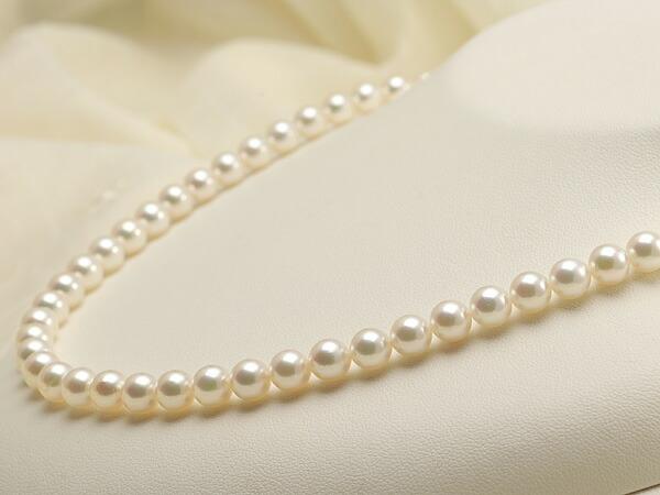【真珠の本場 伊勢志摩よりお届け】淡い優しいピンクグリーン♪6.5-7.0mmあこや本真珠パールネックレス【nc0400】