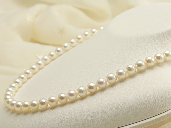 【真珠の本場 伊勢志摩よりお届け】7.0-7.5mm淡いピンクグリーンが美しい♪あこや本真珠ネックレス【nc0408】