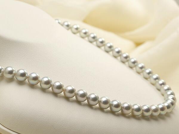 【真珠の本場 伊勢志摩よりお届け】艶やかなグレーの輝き♪7.5-8.0mmあこや本真珠シルバーグレーネックレス